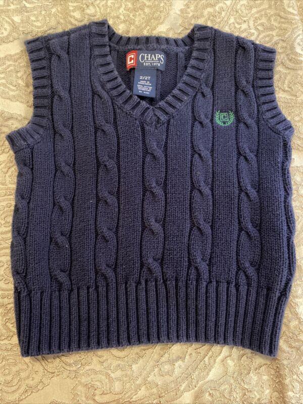 Chaps Toddler Boy's Sz 2T Toddler Sweater Vest V-Neck Navy Blue 100% Cotton EUC