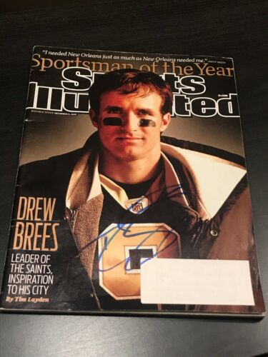 DREW BREES SIGNED AUTOGRAPH SPORTS ILLUSTRATED NEW ORLEANS SAINTS COA AUTO NY D