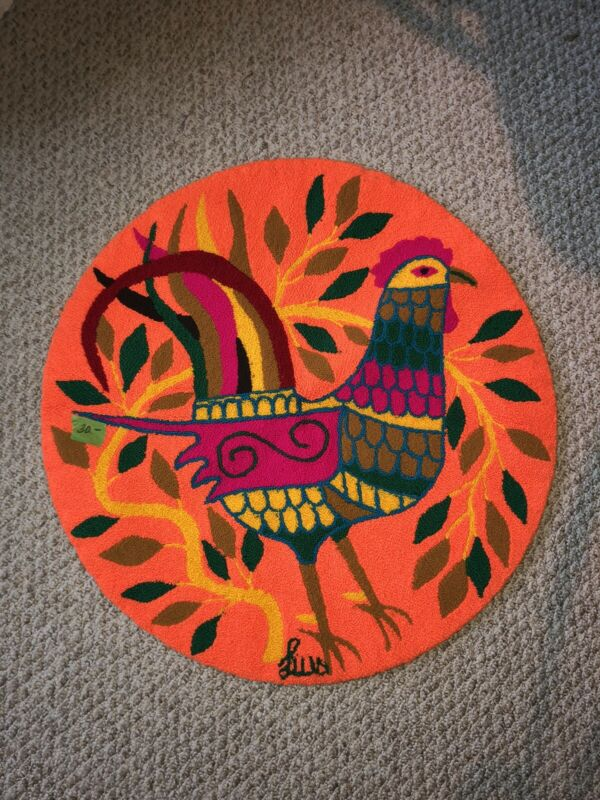 "SIGNED! Luis Montiel Tapestry Round Rug. 36"""