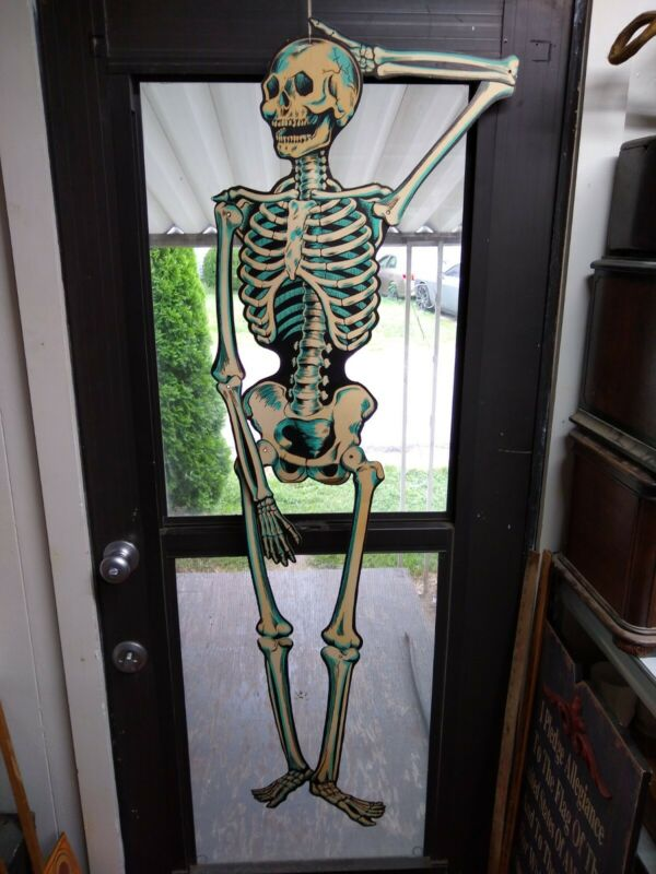 VTG Beistle Halloween Jointed Cardboard Poseable Skeleton Decoration USA 53""