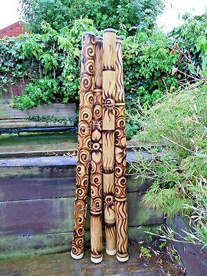 Fair Trade Hand Carved Made Bamboo Burnt Aboriginal Style Woodwind Didgeridoo