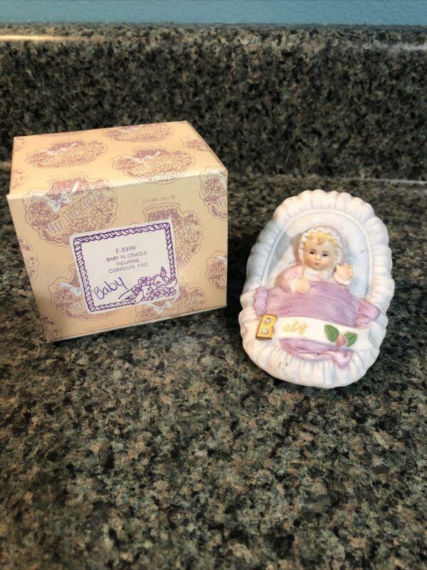 Enesco Growing Up Birthday Girls - Blonde Baby in Cradle Figurine #E-3399- 1983
