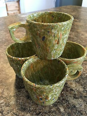 Vintage Mid Century Modern PROLON WARE Stacking Mug Set of 4 Green Confetti