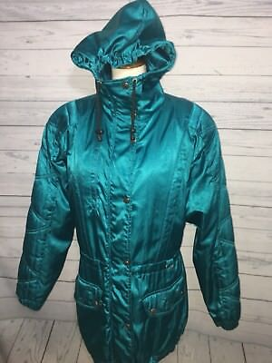 Nils Vintage Ski Jacket Teal Blue Green Women's Size 8  USA 80's Fashion