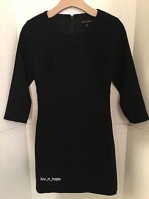 (NWT Banana Republic Double-Face Scalloped Waist Dress,Black, sz 4 Petite #390403)