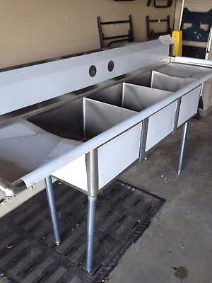 90 Stainless Steel Nsf Certified 3 Compartment Sink With Drain Drain Boards