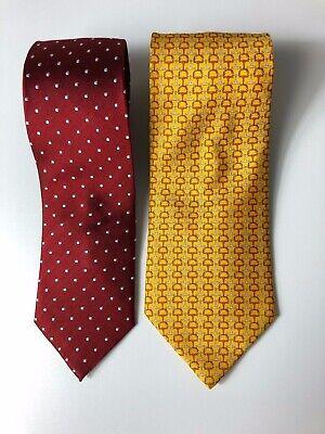 Zwei Krawatten 100% Seide Lancel & Carlo Gaggioni Rot-Gelb gemustert Zwei Krawatten