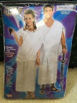 Greek Roman Grecian Goddess Or Emperor Toga White Dress Costume Adult Unisex](White Toga)