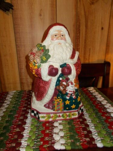 Vintage Christmas Santa Cookie Jar Beautiful