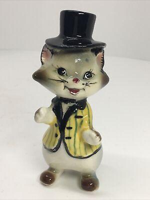 Vintage Anthropomorphic Cat Figurine Top Hat and Jacket