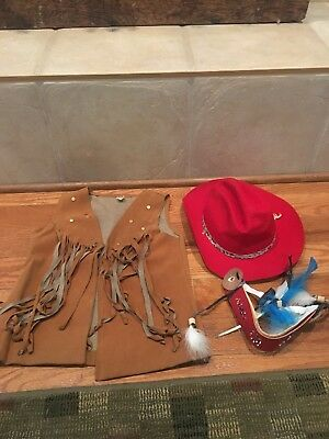 Cute Vintage Childs Cowgirl Indian Western Outfit Vest Headband Hat Girl - Cute Cowgirl Costumes