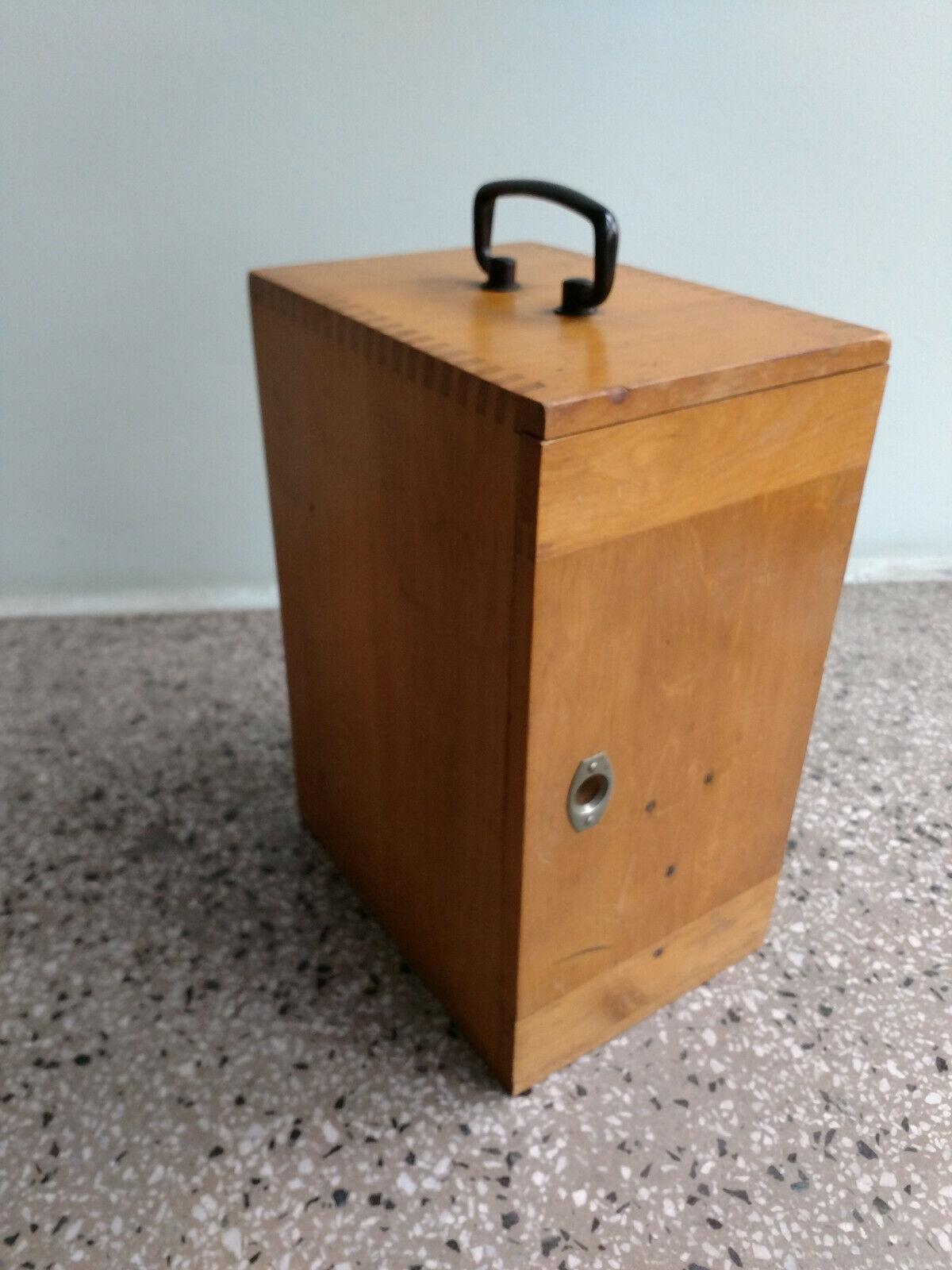 schöner hoher Mikroskop Kasten Holzkasten Holzkoffer E. Leitz Wetzlar
