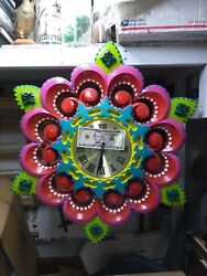 HAND PAINTED CIRCUS 3-D WAGON WHEEL STYLE WALL CLOCK,ODD,PSYCHEDELIC,OOAK,WEIRD