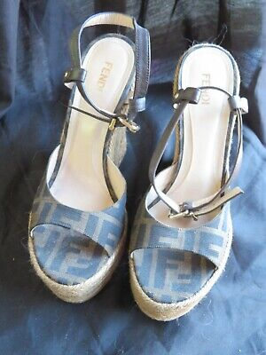 Beautiful Fendi Espadrille Rope Wedge Signature Wedge Heels Shoes Size 37 US