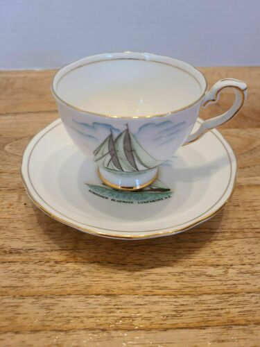 Vintage Royal Stafford Tea Cup and Saucer Fine Bone China England Schooner Ship
