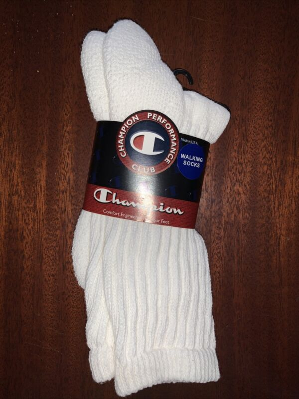 Vintage Champion Walking Socks Ribbed Crew USA Unisex Size L Terry Loop Cushion