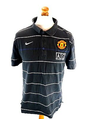 NIKE MANCHESTER UNITED Mens Football Polo Shirt XL Black Cotton Man Utd