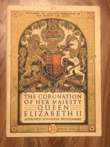 The CORONATION of Her Majesty QUEEN ELIZABETH II Souvenir Program 32 Pages 1953