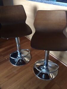 Beautiful pair of wooden stools - swivel and adjustable