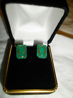 Vintage Earrings Art Deco Jade with Cameo Sterling Silver Screw-back -Stunning!