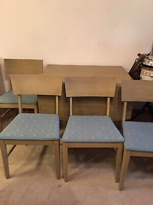 Basic-Witz real Mid Century space saving drop leaf table, 4 chairs; seats 8