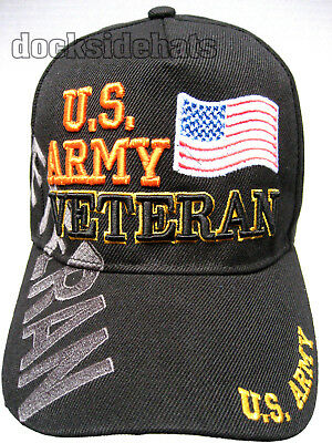 U.S. ARMY VETERAN Cap/Hat w/Flag Adjustable Black Military*Free Shipping*