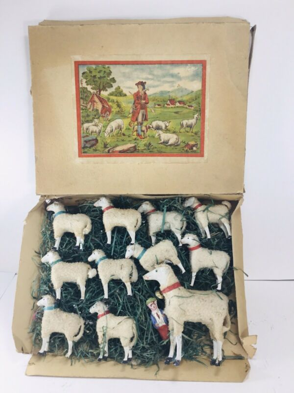 Antique German Boxed Set of Putz 10 Stick-Leg Sheep / Large Ram / Sheppard Boy