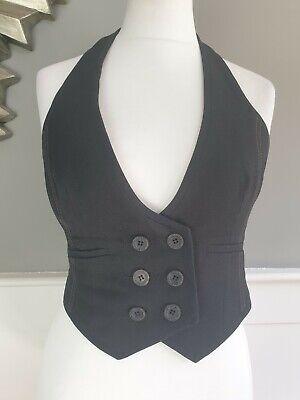 KAREN MILLEN Waistcoat 10 Black Halterneck Double Breasted Low V Cut VGC