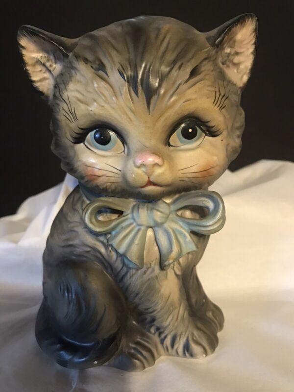 Vintage Lefton Gray Kitten w/Blue eyes Bank 1565N