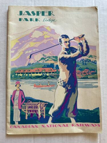 1930 Deco Travel Brochure for Jasper Park Lodge Canada by Canadian National Rail