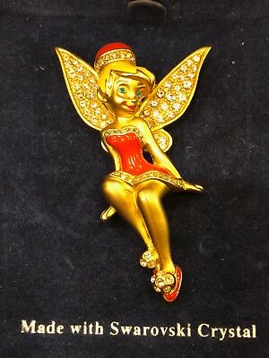 SWAROVSKI DISNEY SIGNED TINKER BELL BROOCH PIN RARE AND HARD TO FIND # 0362