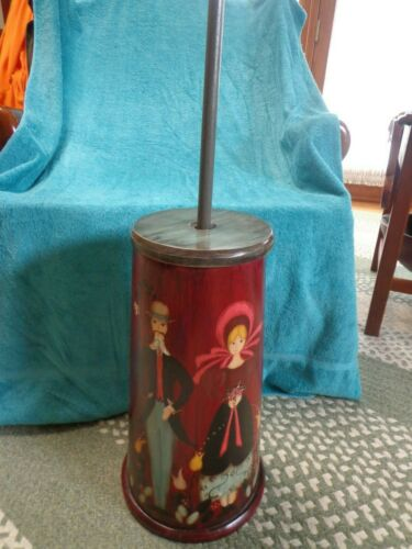 Vintage Amish Wood Hand Painted Wedding Butter Churn