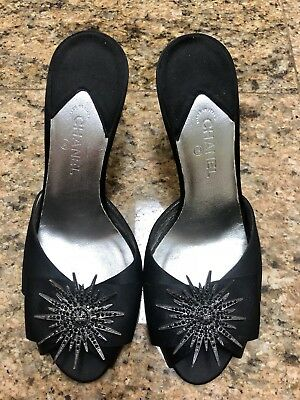 CHANEL Black Satin Crystal Starburst Mules