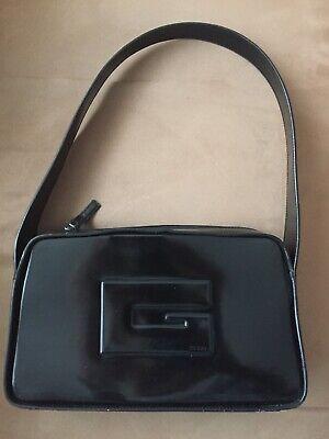 Vintage Authentic GUCCI Black Leather Hobo Shoulder Bag Monogram Logo Italy