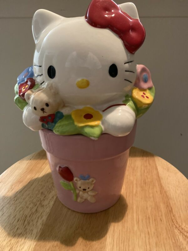 Vintage Rare Sanrio Hello Kitty Ceramic Pink Flower Pot Cookie Jar Tres Craft