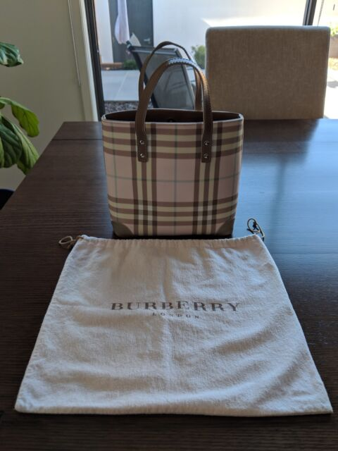 13d1ba2cc728 Burberry Nova Tote Bag Check in Pink used condition AUTHENTIC ...