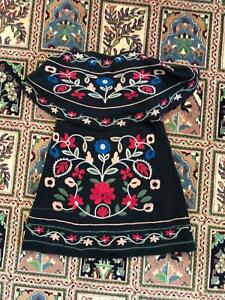 Beautiful black tube minidress with flowers, Mexican-style design