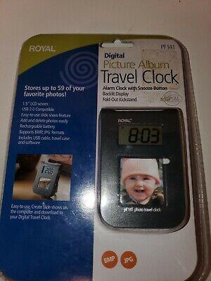 Digital Picture Album Travel Alarm Clock Snooze Backlit Case Fold Out Royal NEW
