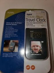 Digital Picture Album Travel Alarm Clock Snooze Backlit Case Fold Out Royal NEW