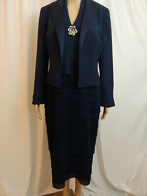 20s Style Suit (DAYMOR COUTURE ROARING 20's Style Tiered Dress Suit Size 8 Navy Blue LS)