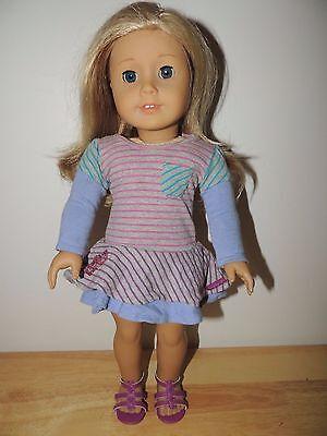 """2012 American Girl Doll Blue Eyes Blonde Hair Dressed  18"""" Pierced Ears!"""