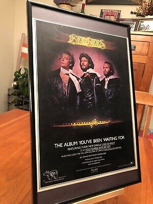 """2 BIG 11X17 FRAMED BEE GEES """"CHILDREN OF THE UNIVERSE"""" LP ALBUM CD 45 PROMO ADS"""