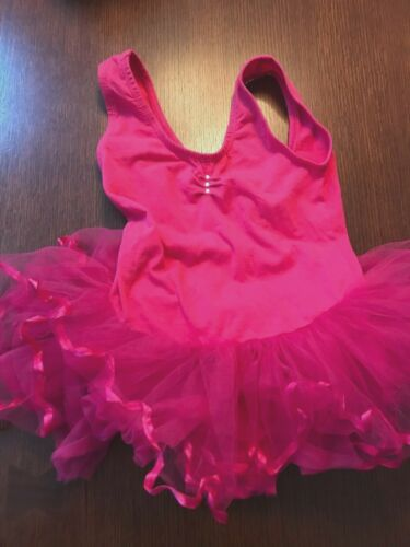 Girls Wenchoice ballet dance leotard sleeveless tutu hot pink fuscia sz L (5/6)