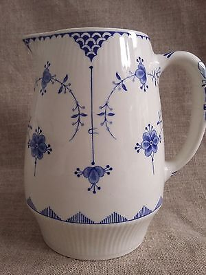 """Furnivals Denmark Jug: Blue & White Transferware. Vintage. Large 6"""" inches Tall"""