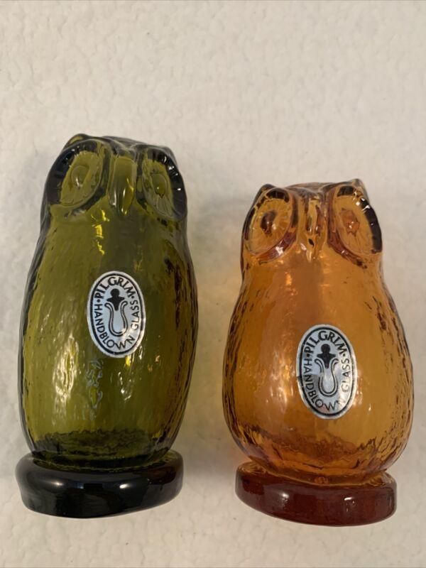 "VINTAGE Owls Viking Pilgrim Art Amber,& Avocado-Hand Blown Glass 5""- Like Nee"