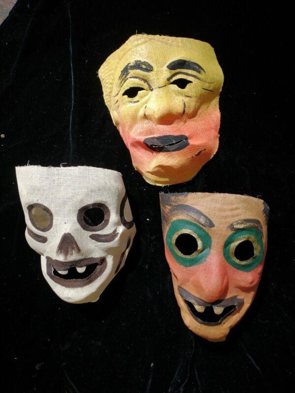Lot 3 Vtg Gauze Halloween Mardi Gras Masks :  Skeleton, Sad Clown, Savage Tribal