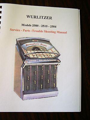 Wurlitzer 2500 - 2510 - 2504 Jukebox Manual