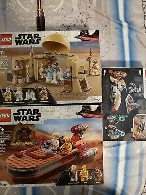 Lego Star Wars Lot 75270,75271,75267 Obi Wans Hut, Luke Landspeeder,Mandalorian
