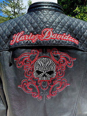 Harley Davidson SCROLL Willie G Skull Leather Jacket Women's 3W
