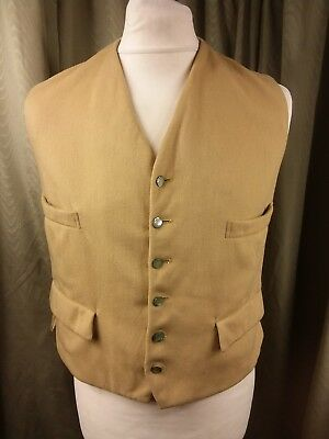 Vintage 60s Horne Brothers Front And Rear Wool Beige Camel Waistcoat C38